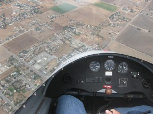 View from above through the glider cockpit.
