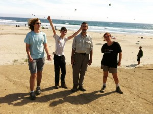 Gabriel, Neil, Steve and me at Waddell Beach after having hiked 20+ miles from the mountains